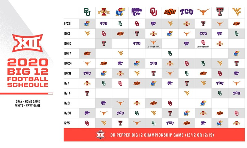 2020 Big 12 Football Conference Schedule Announced Big 12 Conference